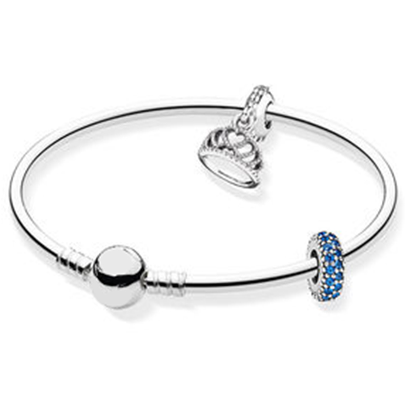 NEW 100% 925 Sterling Silver Brand New 1:1 Glamour Noble Crown Bracelet Set Elegant Temperament Ladies Bracelet Set