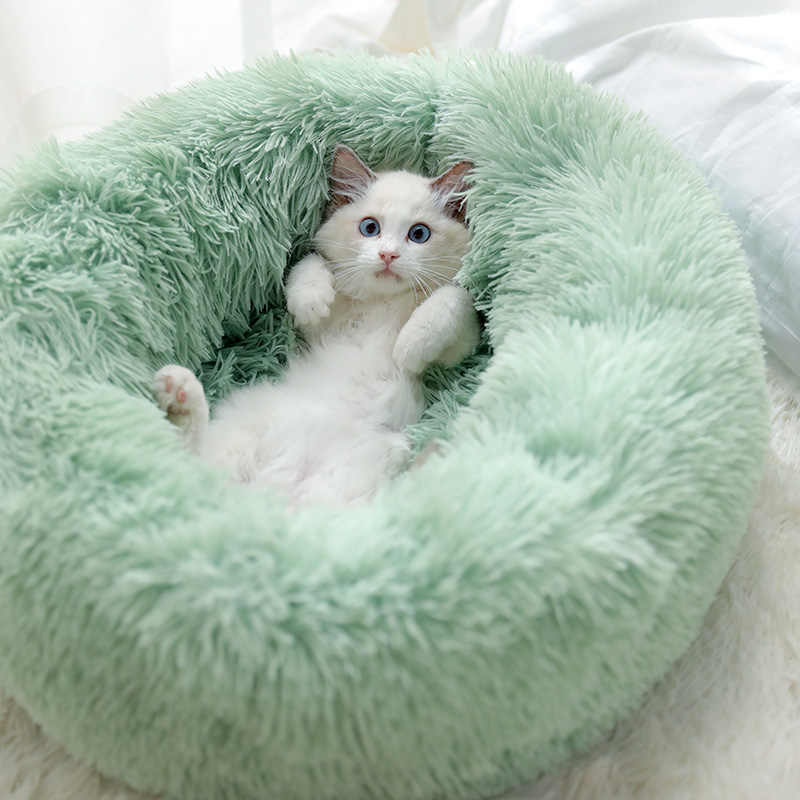 Dog Pet Bed Kennel Round Cat Winter Warm Dog House sacco a pelo lungo peluche Super Soft Pet Bed cuscino per cuccioli mat forniture per gatti