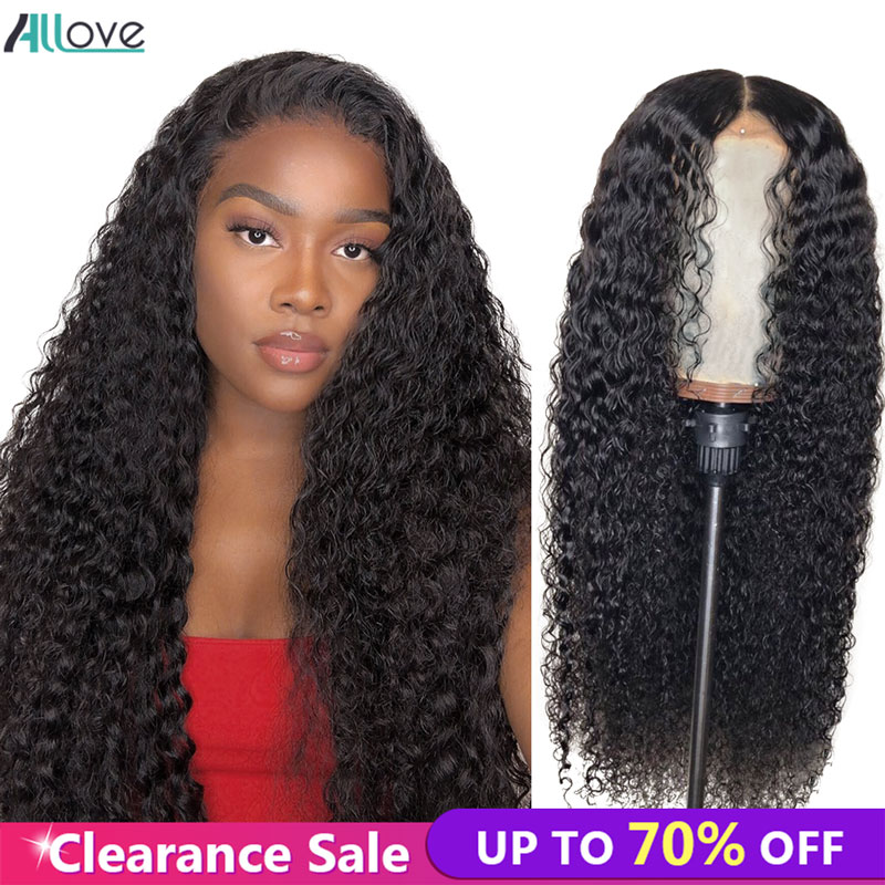 Allove Curly Human Hair Wigs 13X4 Lace Front Human Hair Wigs For Black Women Pre Plucked Mongolian Kinky Curly Hair Wigs