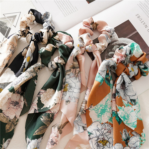Fashion Flower Print Hair Scarf Bow Scrunchies Ponytail Headband for Women Hair Accessories Bowknot Elastic Hair Rope Hairbands