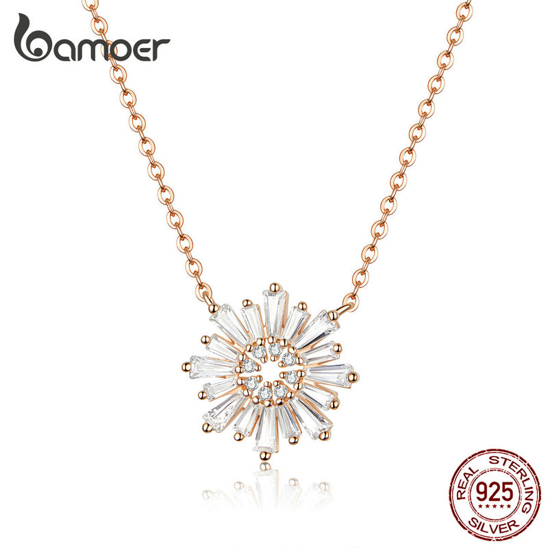 bamoer Radiant Sun Flower Short Necklaces for Women Clear CZ Rose Gold Color 925 Sterling Silver Engagement Jewelry BSN117