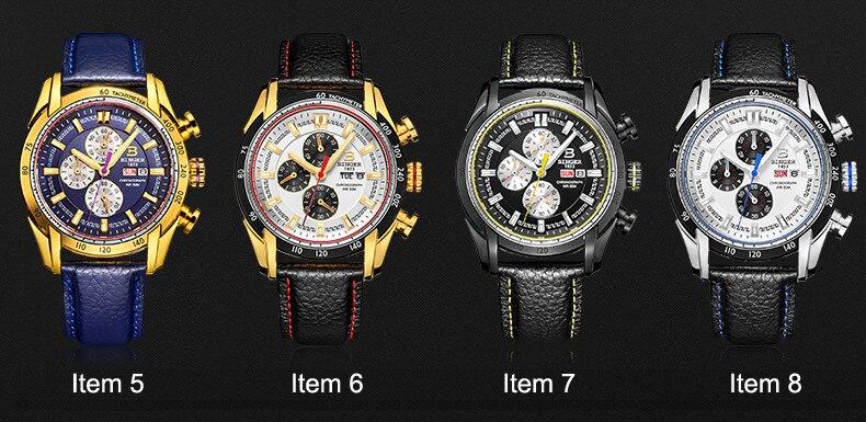 Genuíno binger relógio masculino luxo multifuncional safira