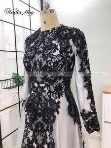 Image 5 - Vestidos de Noche grises y musulmanes hiyab de manga larga, vestido árabe para baile de graduación, apliques de Dubái con cuentas para mujer, vestidos formales de fiesta de boda 2019
