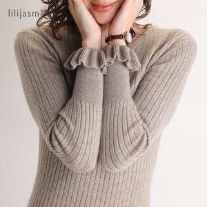Image 5 - 2019 Women 100% Cashmere O neck Knit Long Dress Allover Ribbed Winter Dress Flare Sleeve Straight Soft Long Knitwear Sweaters