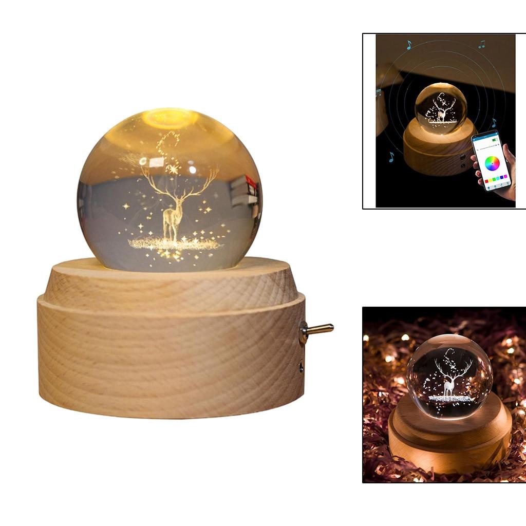 Crystal Ball Globe Glass Music Box USB Rotating Projection Lights Kid Gifts