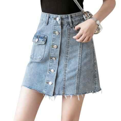 Zomer Vrouwen Jeans Rok A-lijn Single-breasted Harajuku Denim Jupe Mujer College Wind Hoge Taille Lichtblauw Denim Rokken LJ526