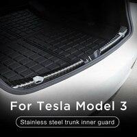 Stainless Steel Decorative Exterior Rear Trunk Trim Car Accessories Edge Auto Bumper Protector Guard DIY Strip For Tesla Model 3