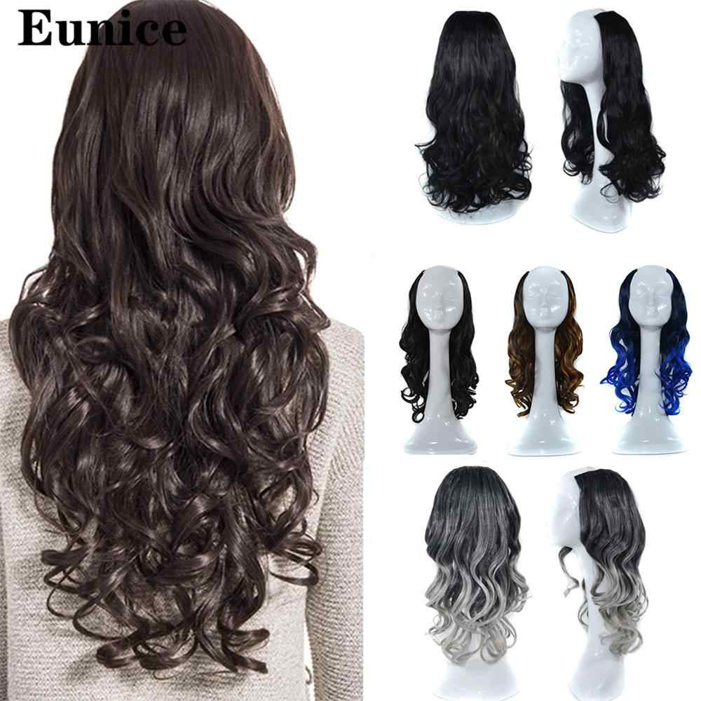 Long Wavy U-Shaped Half Wig for Women U-Part Natural Female Long Black Brown Wigs Heat Resistant Synthetic Fake Hair Daily Wig