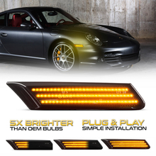 2Pcs Smoke CANBus Amber Led Side Marker Light Turn Signal Lamp For Porsche Cayman 2006 2012 Boxster 987 911/997 4 4S GT Turbo