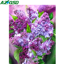 AZQSD DIY Diamond Embroidery Painting  Flower With Home Decoration cross stitch Mosaic Purple Lilac