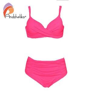 Image 4 - Andzhelika Biquínis Mulheres Swimwear Fold Sólidos Cintura Alta Bikinis Set 2020 Verão Sexy Plus Size Swimwear Maiô Biquini