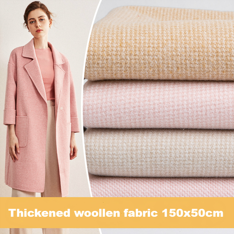 Thickened plaid wool fabric Sanded Cashmere cloth Sewing DIY autumn winter warm coat material <font><b>150x50cm</b></font> image