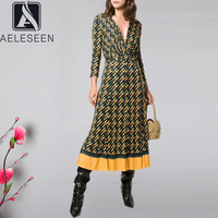 AELESEEN Vintage Letter Print Dress Women's Long Sleeve Spring Autumn Party Midi V Neck Belt Pleated Runway Fashion Dress