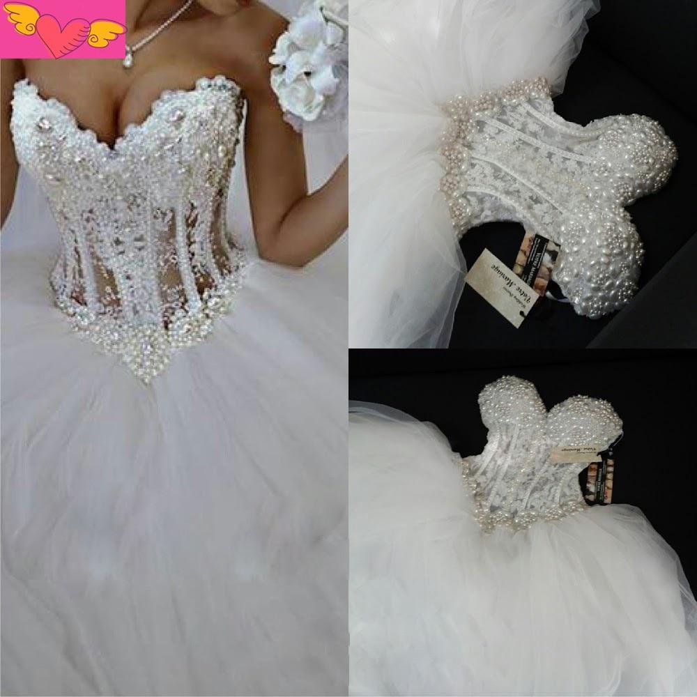Long Vintage White Princess Wedding Dresses See Through Corset Beaded Luxury Wedding Gowns 2016 Vestido De Noiva Longo Sexy Gown