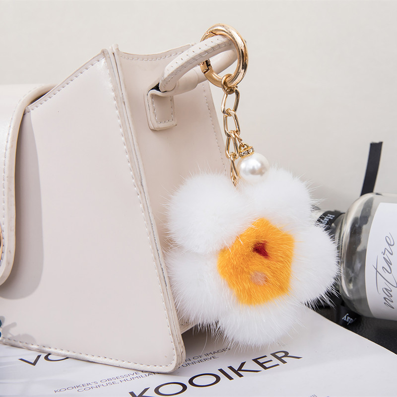 Mink feather fried egg sunflower doll pendant real fur plush cherry blossom cute and lovely bag pendant car key chain