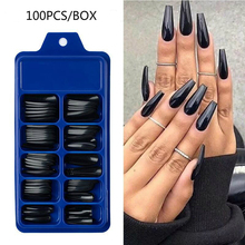 100pcs False Nails Long Coffin Press on Nails Tips Candy Color Full Cover Acrylic Nail Tips Ballerina Fake Nails Accessories