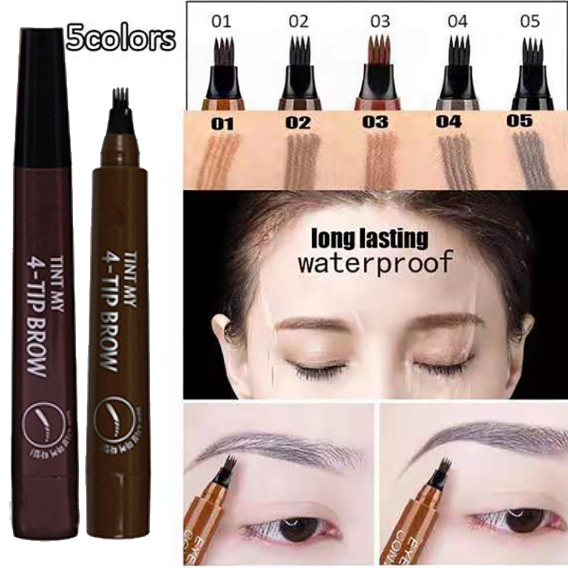 Microblading Eyebrow Tattoo Pen Waterproof 4 Fork Tip Eyebrow Tattoo Pencil Professional Fine Sketch Liquid Eye Brow Pencil Tint