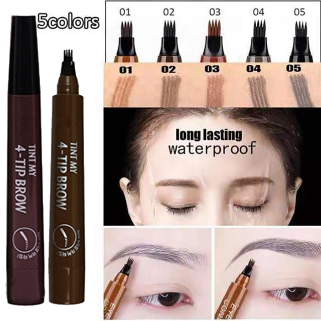 Microblading Eyebrow Tattoo Pen Waterproof 4 Fork Tip Eyebrow Tattoo Pencil Professional Fine Sketch Liquid Eye Brow Pencil Tint