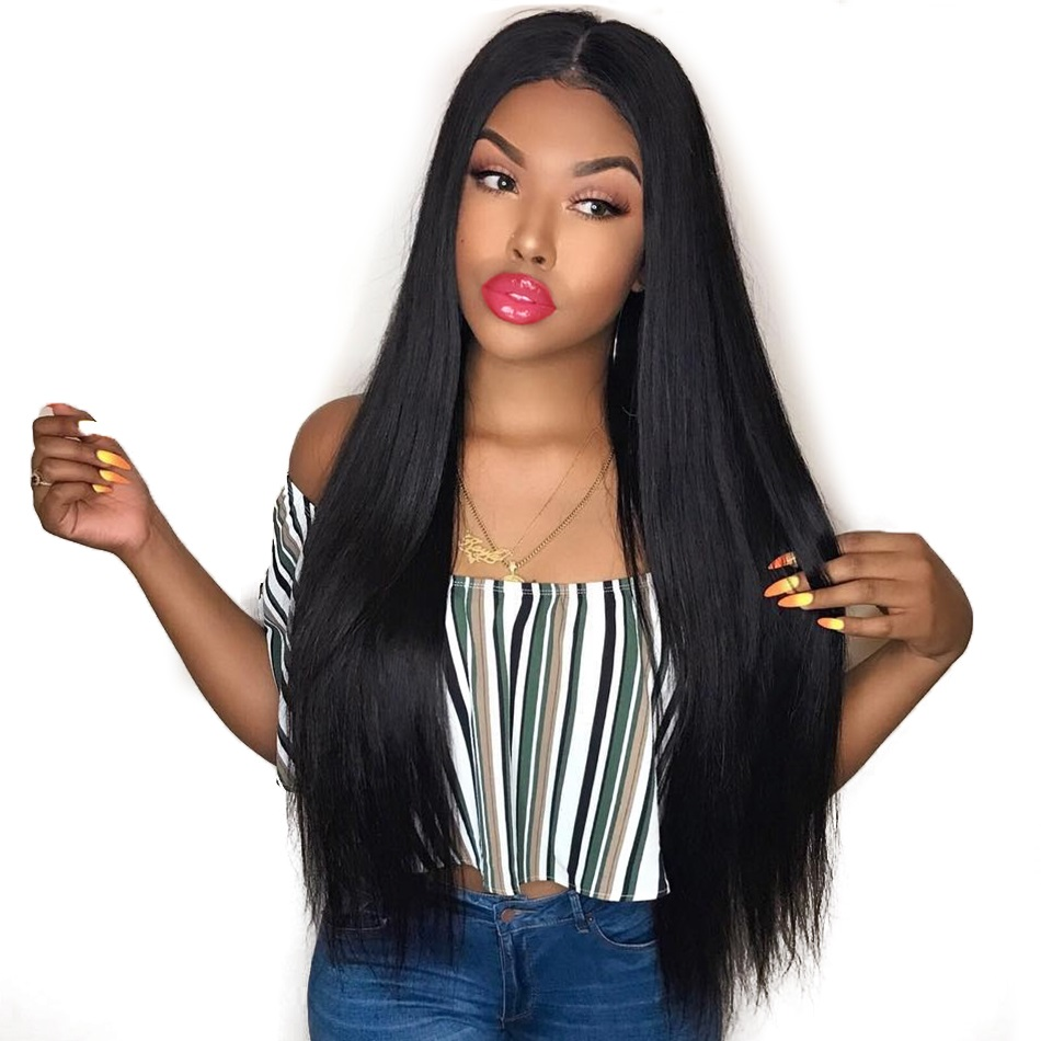 Straight Lace Front Human Hair Wigs Pre Plucked With Baby Hair Glueless Lace Front Wigs Bleached