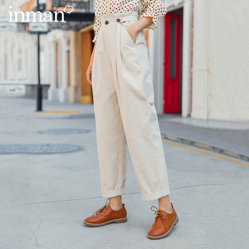 INMAN 2020 Spring New Arrival Literary Retro Style Pure Cotton High Waist Multi Folded Loose Style Women Cotton Pants