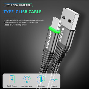 USLION 0.5m/1m/2m LED 3A USB Type C Cable Fast Charge Wire for Samsung Galaxy Xiaomi Huawei Note 7 Data USB-C Cable Charger Cord