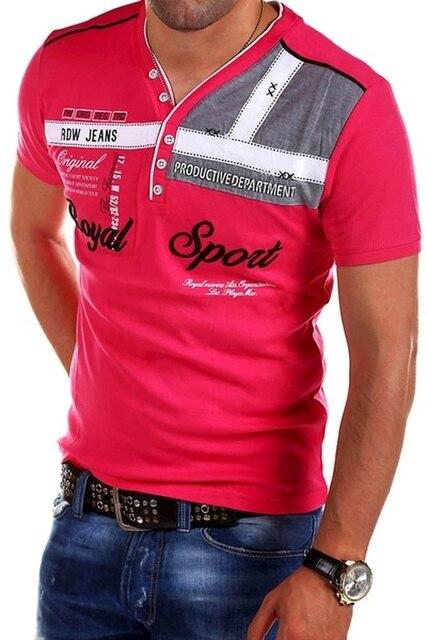 ZOGAA Men's Street Fashion Top Short Sleeved Polo Shirt Letter Printed Slim Fit Men Clothing VNeck Cotton Polo Shirts Brands Men 6
