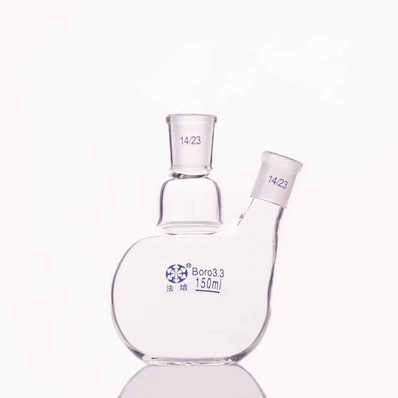 Two-necked Flask Oblique Shape,with Two Necks Standard Grinding Mouth,Capacity 150ml 14/23,Two-necked Flat Bottom Flask