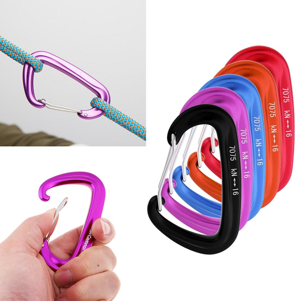 5pcs 16KN Aluminum Wire Gate Spring Clip D Carabiner Hammock Keychain Purple