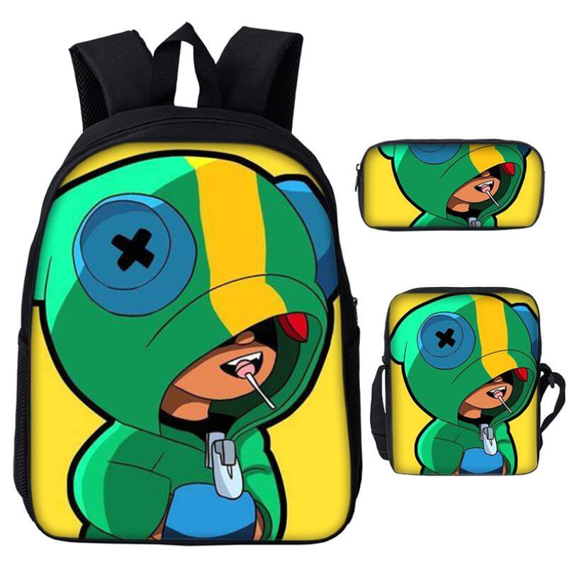 Dropshipping BRAWL STARS Backpacks School Bag Boys Girls Kids Love Gift Pencil Case Satchel Set Of 3 Learning Partners