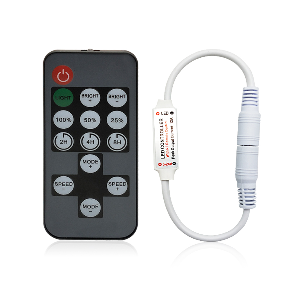 14 Keys RF LED Strip Controller Mini Dimmer RF Remote DC 5V 12V 24V Controller For LED 5050 2835 3528 Strip Single Color