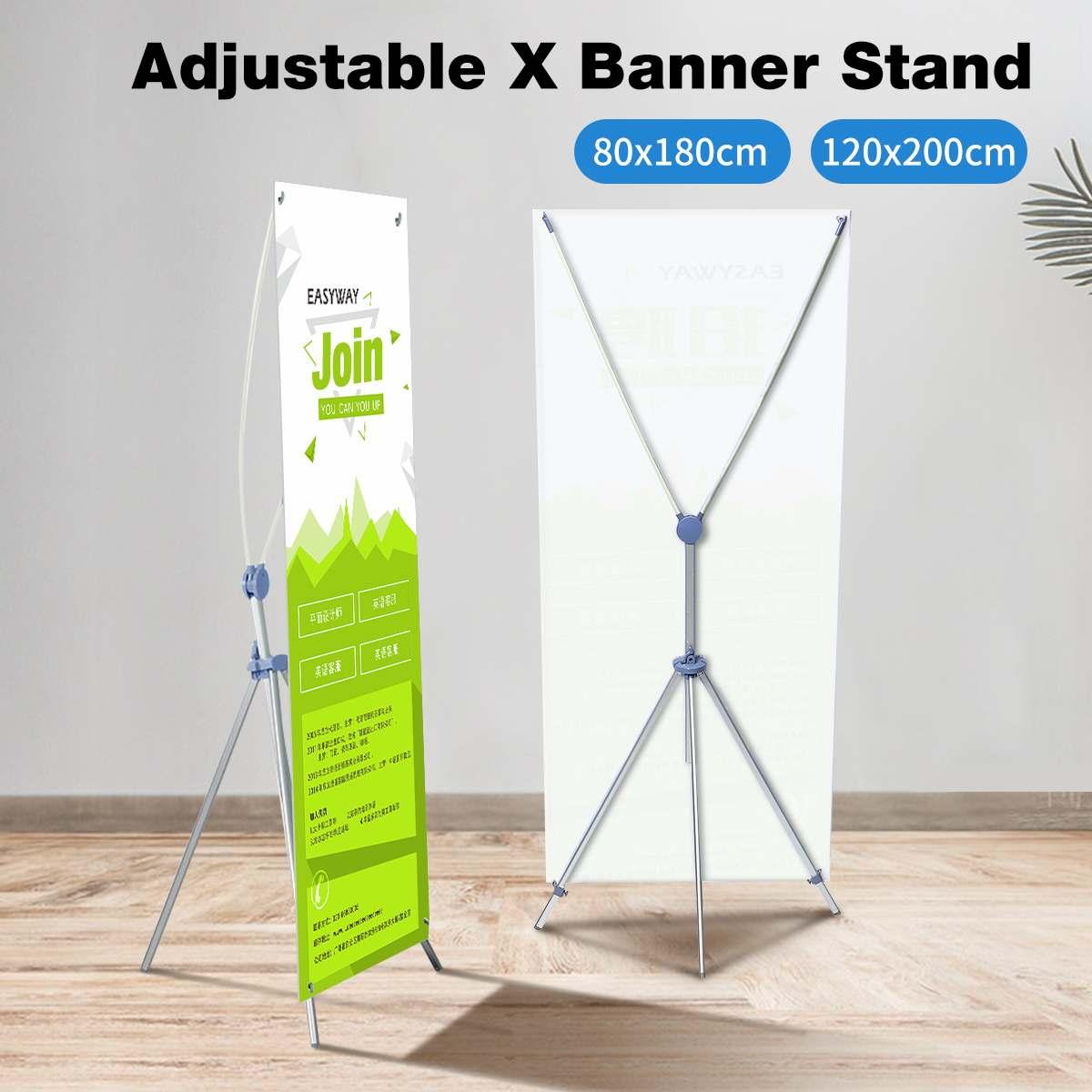 80*180cm/120*200cm Adjustable Tripod X Banner Stand+Travel Bag Trade Show Presentation Poster Holder Wedding Event Display Rack