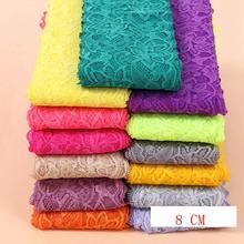Wholesale Lot 1 Yard 8cm Wide 22 Colors Delicate Elastic/Spandex Flower Floral lace trim DIY/sewing/Wedding Lace 765