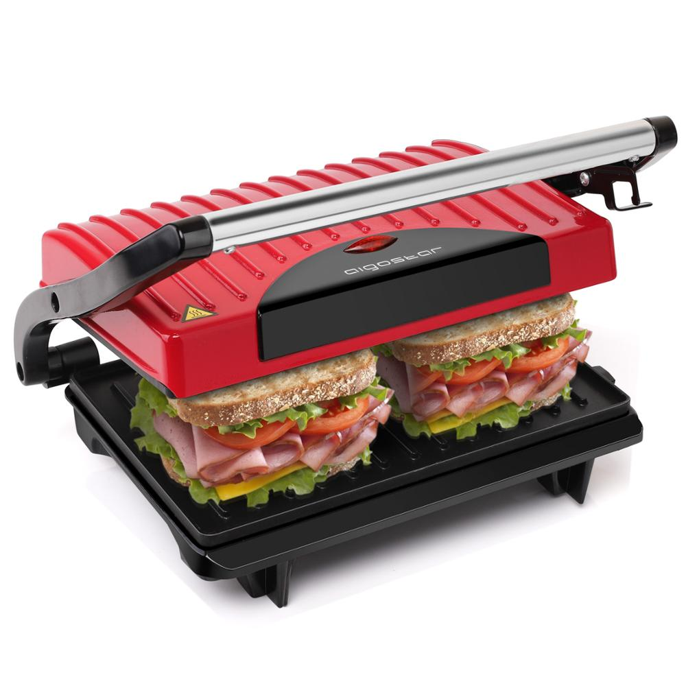 Aigostar Warme 30HHH - Panini Maker/Gontact Grill, Sandwich Press, Electric Grill, 700 Watt, Cool Touch ,Nonstick.