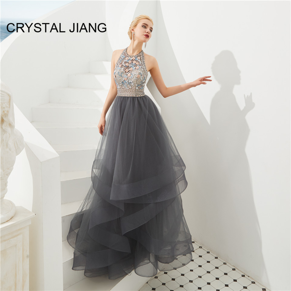 Luxury Evening Dresses Halter Beaded Gray Tulle Formal Gown Floor Length Open Back Sexy Party Gown Robe De Soiree