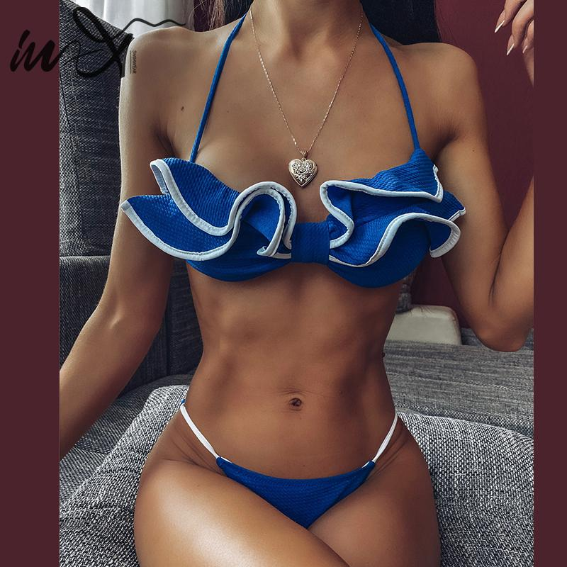 In-X Sexy micro bikini 2020 Ruffled swimsuit female Summer bathers Halter swimsuit women Print swimsuit Bathing suit Swimming