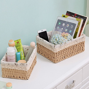 Straw Storage Basket Cosmetics Storage Box Snack Basket Rattan Woven Fabric Tabletop Coffee Table Sundries Toy Key Basket(China)