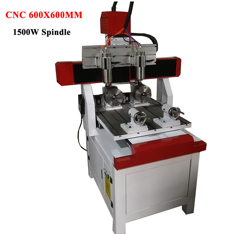<font><b>CNC</b></font> wood lathe <font><b>router</b></font> 3 axis spindles 1500w cast iron frame and handle control system 600x600mm G code ball screw square rail image