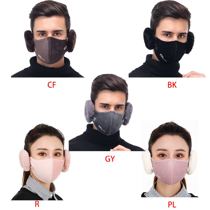Detachable 2-in-one Men Women Winter Warm Mask Earmuffs Thickening Riding Masks