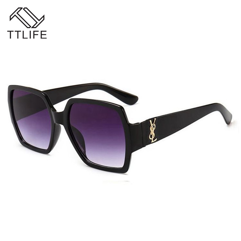 TTLIFE Fashion Women Sunglasses Brand Designer Luxury Vintage Sun Glasses Big Full Frame Eyewear Women Color Ocean Lens YJHH0220