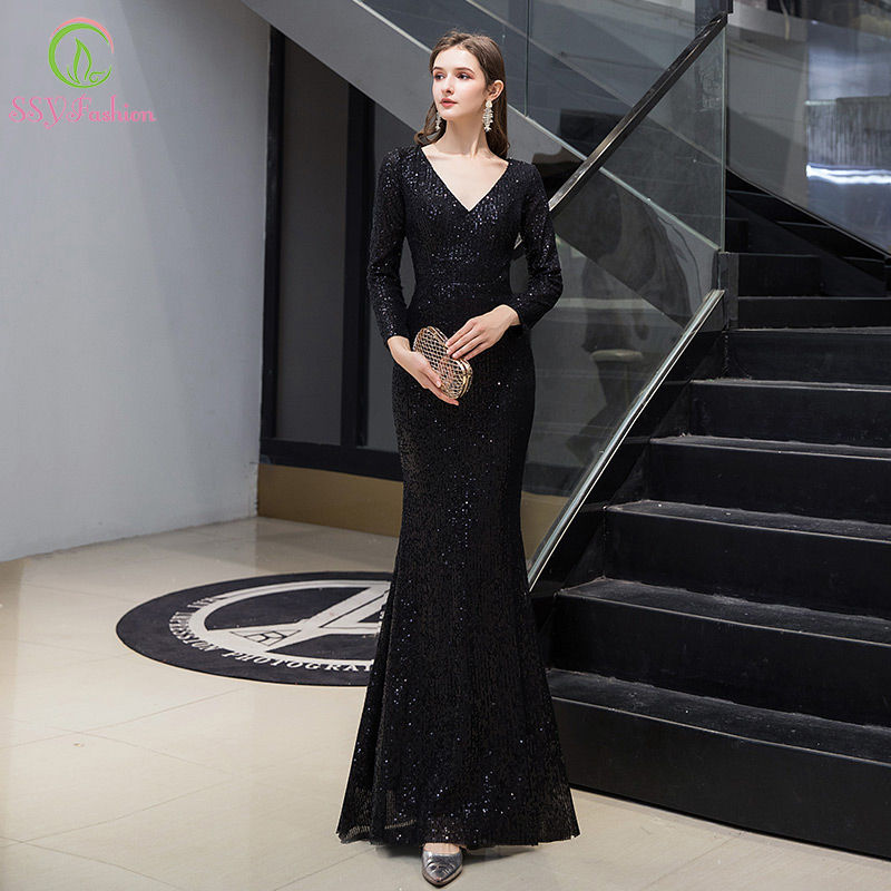 SSYFashion New Banquet Elegant Black Mermaid Evening Dress Simple Long Sleeve V-neck Slim Formal Party Gown Vestido De Noche