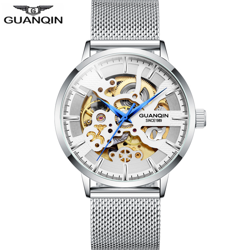 GUANQIN Skeleton Tourbillon Watch  Sport Clock Automatic Men Luxury Watches  Man Mechanical Watch Waterproof  Relogio Masculino