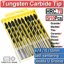 6 8 10 12mm Multi-Material key word[tile bit] Tile Drill Bits HSS Cone Hole Woodworking Tool Drill Wood Set Drill Bits D30 screwdriver bits set screwdriving bit set multi purpose drill bit set with hss steel bits masonry drill bits wood drill bi