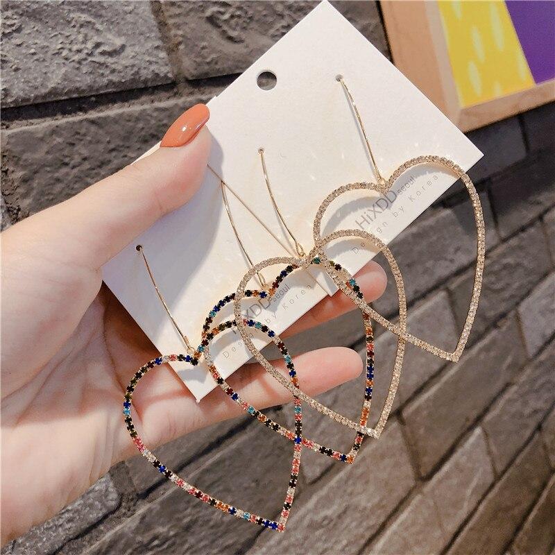 Gold Silver luxury Big Crystal Heart Dangle Earrings For Women Vintage Geometric Statement Drop Earrings Boho Ethinc Jewelry
