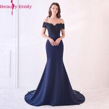 Красивое кружевное темно-синее вечернее платье Emily с бусинами и блестками, длинное платье На Шнуровке Для формальной вечеринки, выпускного вечера, длина до пола, robe de soiree