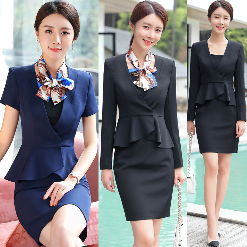Short Slevve Formal Elegant Uniform Styles Blazers Suits Two Piece With Tops And Skirt For Ladies Office Work Wear Jacket Sets