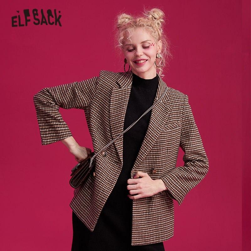 ELFSACK Houndstooth Brit Graphic Woollen Straight Blazer Women 2020 Winter New Double Button Korean Style Ladies Daily Outwears