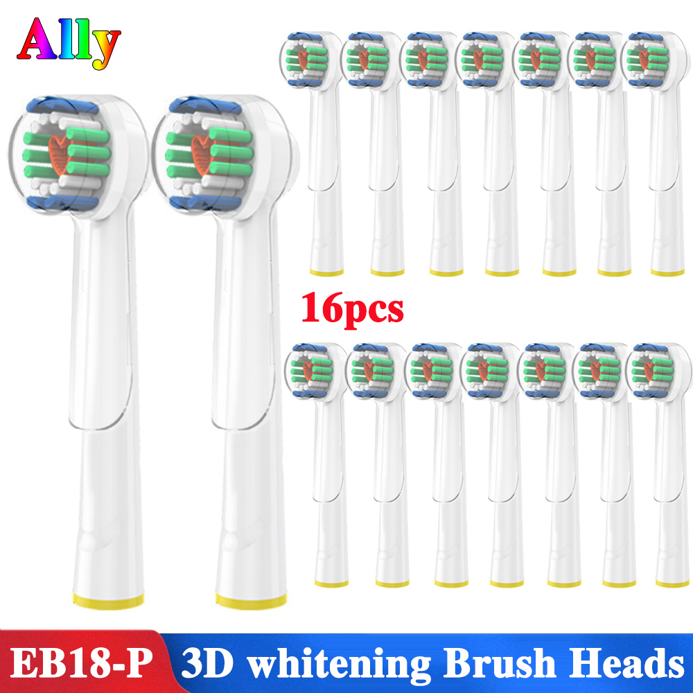 16PCS For Oral B 3D White Replacement Electric Toothbrush Heads For Braun Oral B Triumph Vitality Electric d16 d12 d100 d32 image