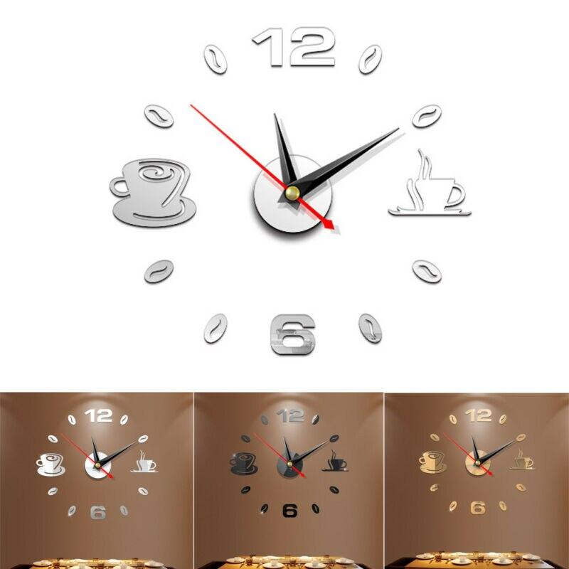 Modern Large 3D DIY Mirror Surface Art Wall Clock Sticker Home Office Room Decor