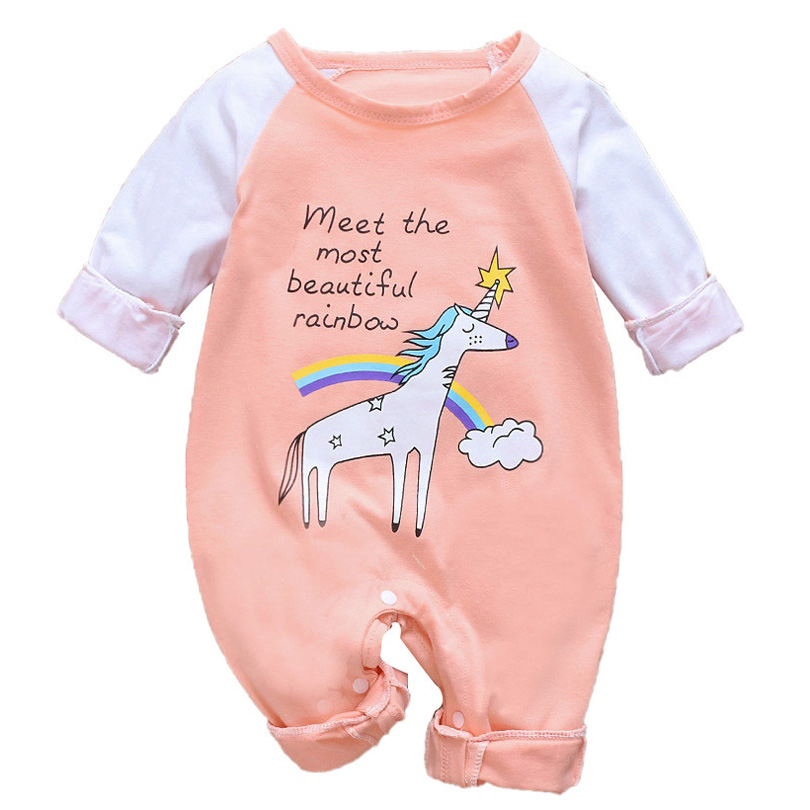 Baby Boys Girls Short Sleeve Jumpsuit Rainbow Unicorn Cotton Romper