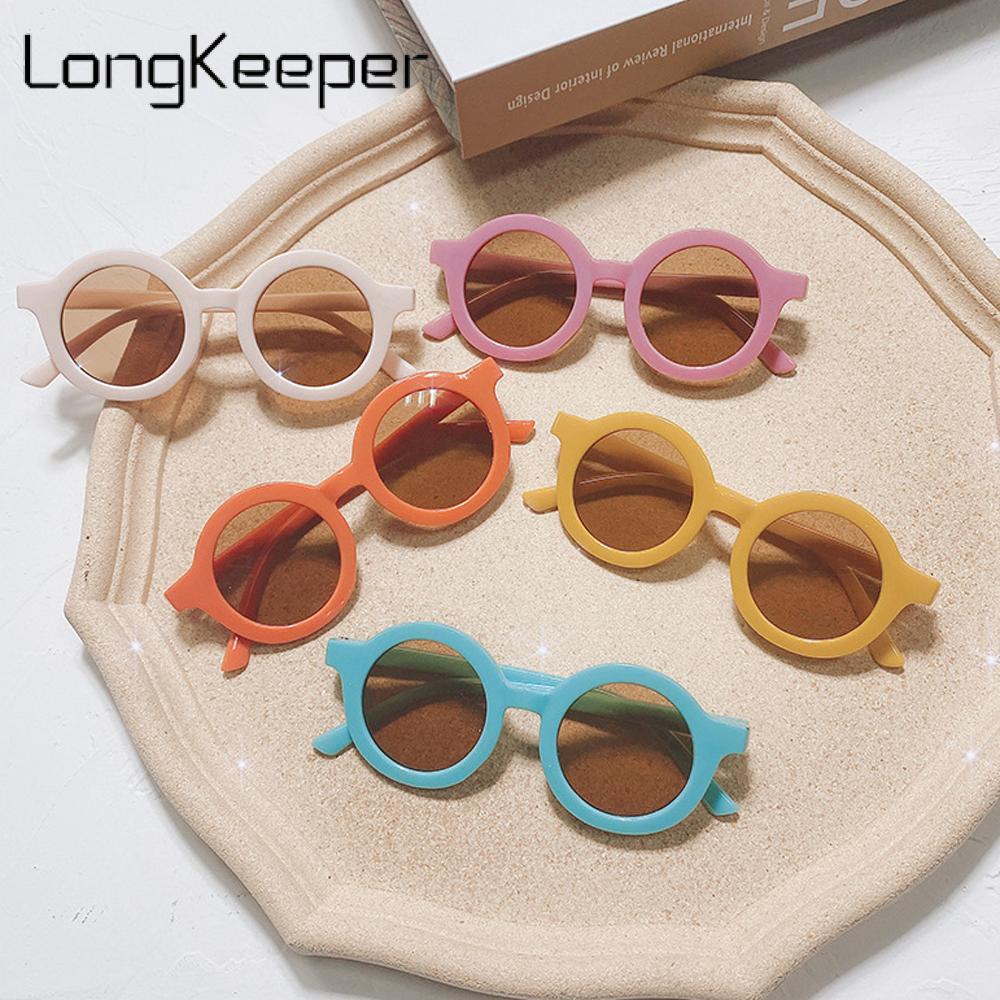 LongKeeper Fashion Round Kids Sunglasses Children Boys Girls Cute Colorful Sun Glasses Baby Shades Vintage UV400 Gafas De Sol